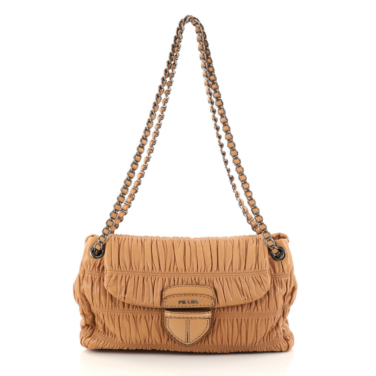 Buy: Gaufre Chain Flap Shoulder Bag Nappa Leather