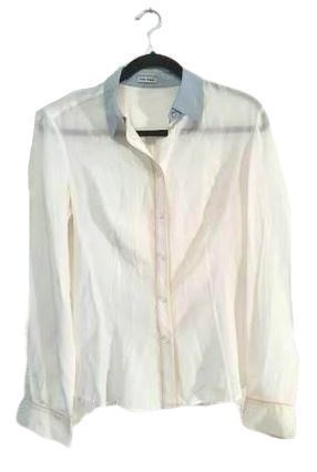 Re-sell: Long sleeve cream shirt with grey collars Size 10-12