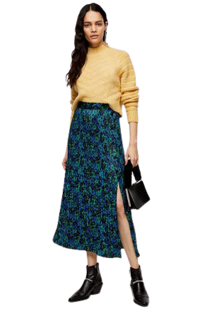 Re-sell: Blue And Green Floral Pleated Popper Midi Skirt BNWT