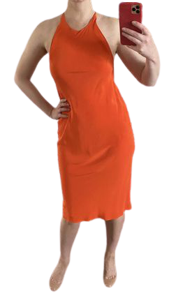 Buy: Orange Silk Dress Size 8