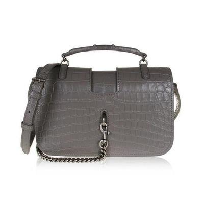 Buy: Charlotte Ysl Crocodile Handbag Gray Leather Cross Body Ba