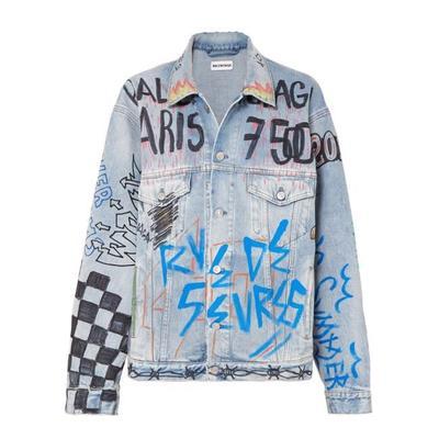 Buy: Graffiti Printed Denim Jacket