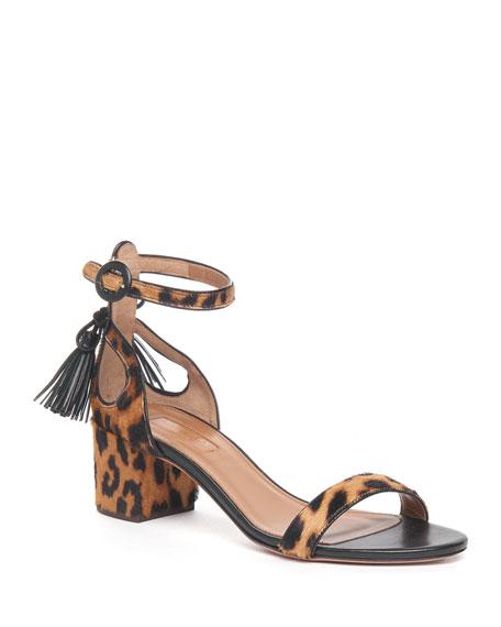 Buy: Leopard-Print Calf Hair Sandal Size 9.5