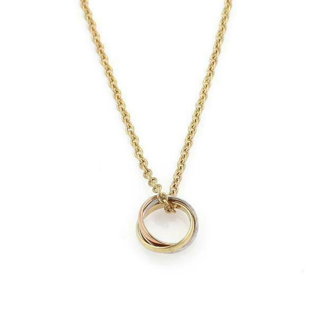 Buy: Trinity 18k Tri-color Gold Small Triple Ring Pendant & Chain