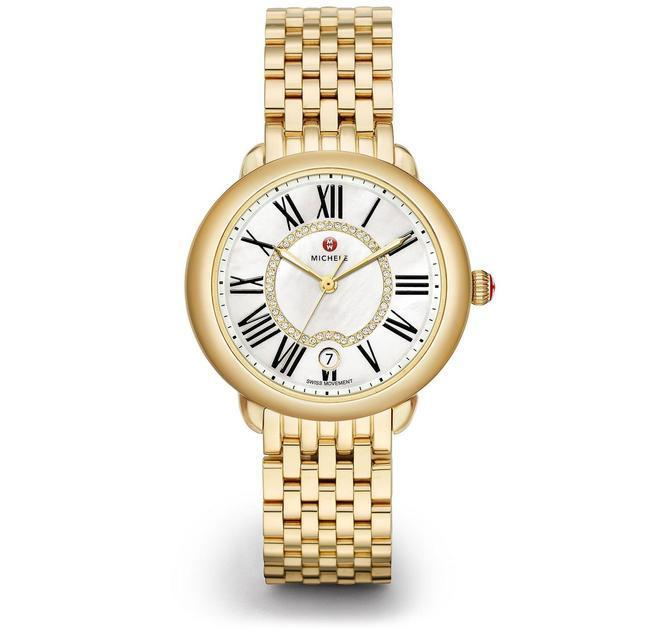 Buy: Gold Stainless Steel Serein Mid Mother Of Pearl Diamond Watch