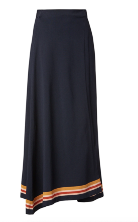 Rent: Crepe knit stipe wrap skirt navy Size 8