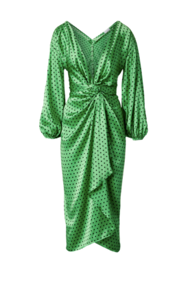 Rent: Silk Spot wrap dress apple Size 10