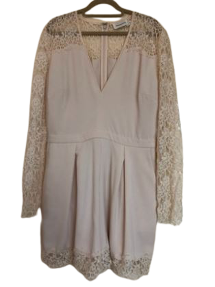 Re-sell: Cream Lace Trim Long Sleeve Playsuit Size 10