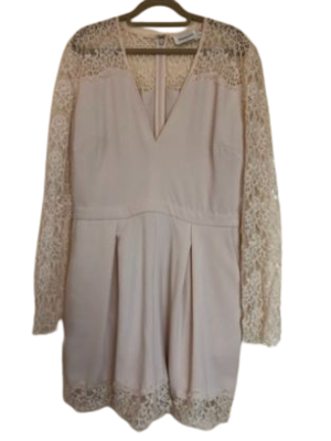 Buy: Cream Lace Trim Long Sleeve Playsuit Size 10