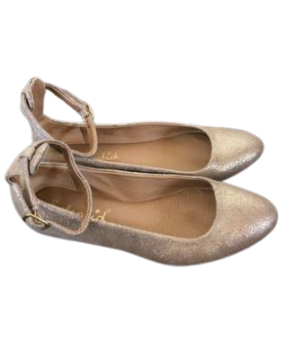 Re-sell: Gold Leather Ankle Strap Flats Size 6.5