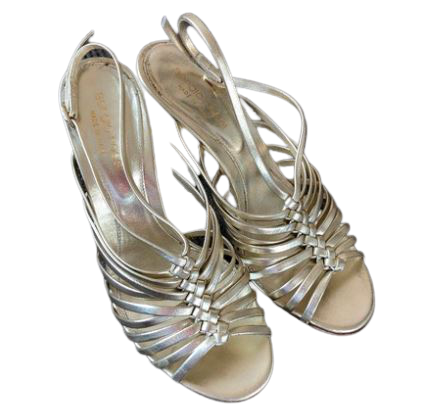 Re-sell: Gold Leather Strappy Heeled Sandals Size 6