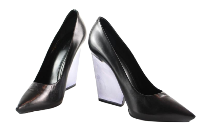 Re-sell: Black Leather Perspex Heeled wedges BNWT Size 6.5