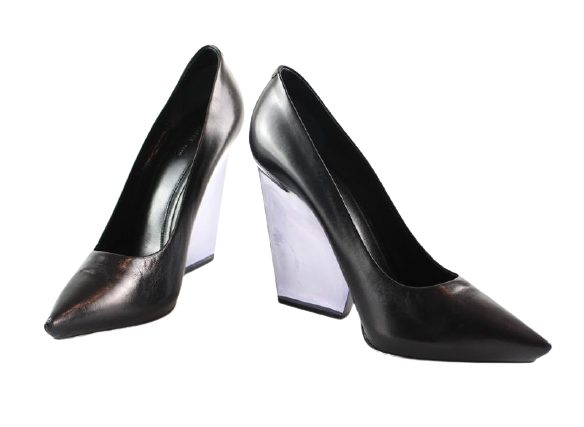 Buy: Black Leather Perspex Heeled wedges BNWT Size 6.5