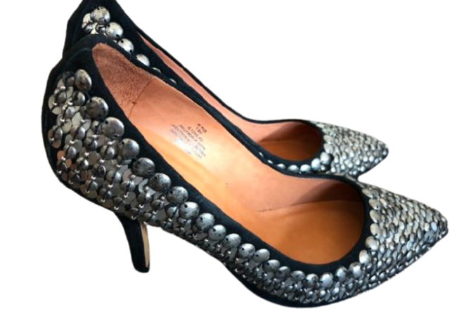 Re-sell: Black Suede Embellished Heel Pumps BNWT Size 7.5
