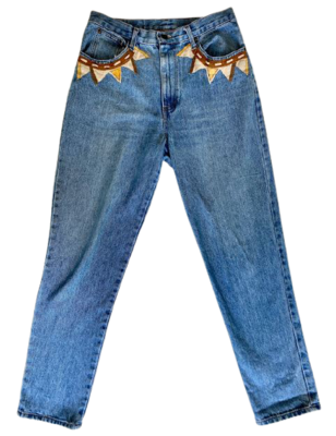 Buy: 80s jeans with leather details Size 12