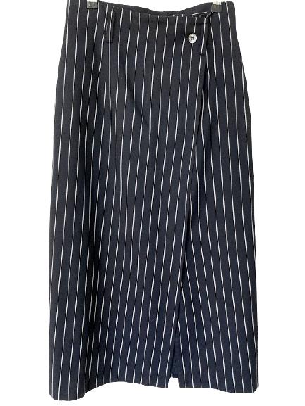 Rent: midi pinstriped wrap style straight skirt Size 10