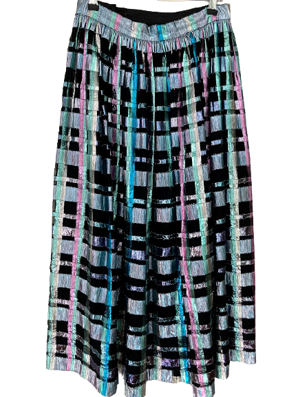 Rent: 80s lurex checked skirt and matching crop top Size 10