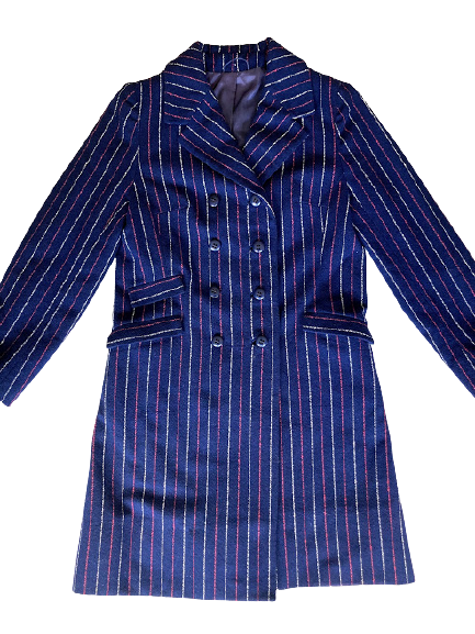 Rent: 60s double breasted blue striped coat Size 10