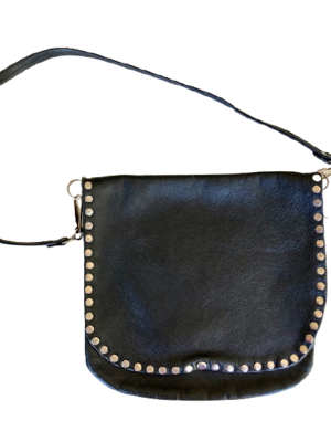 Buy: Black leather studded crossbody bag