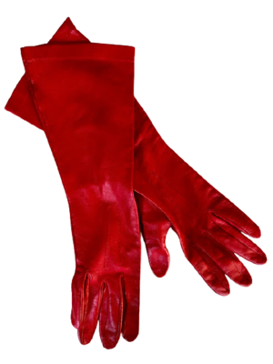 Rent: 80s red leather gloves Size 10