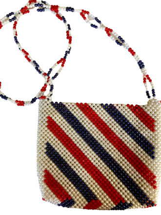 Rent: Thai red white and blue beaded bag