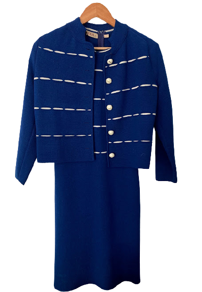 Rent: Wool dress with matching cardigan Size 8