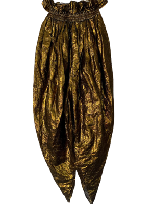 Rent: One-off pantaloons in gold lame Size 10
