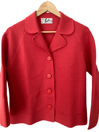 Rent: 60s pure wool coral suit Size 10