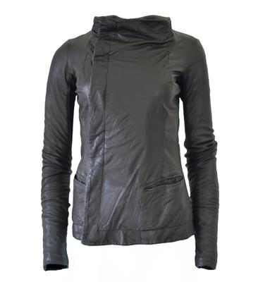 Buy: Black Leather Asymmetrical Biker Jacket Size 8