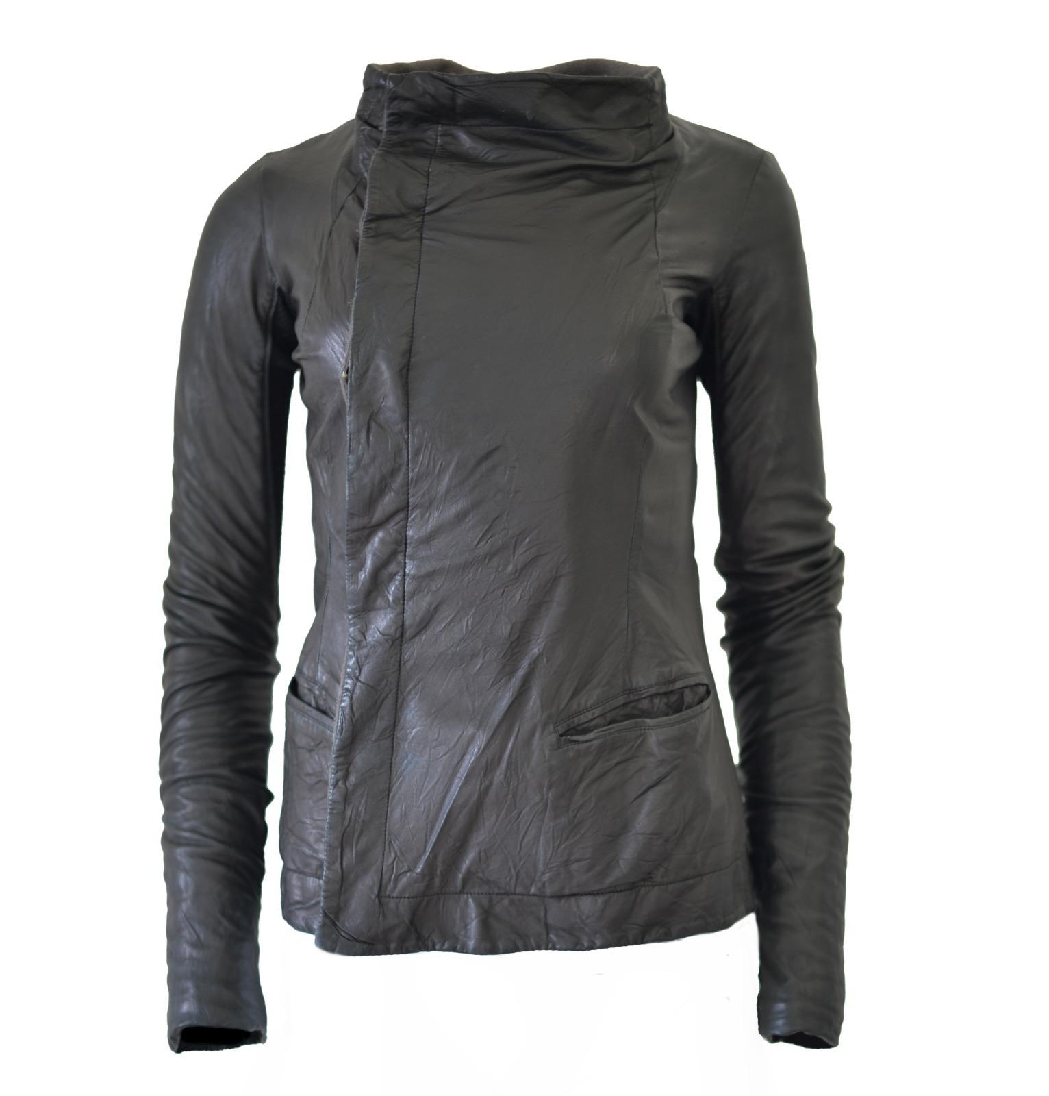 Buy: Black Leather Asymmetrical Biker Jacket, Size 8
