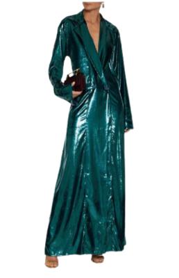 Buy: Satin-trimmed metallic velvet gown Size 8