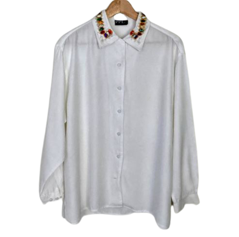 Rent: 90s embellished collared shirt Size 10-14