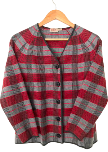 Rent: 60s red and grey checked pure wool suit Size 8