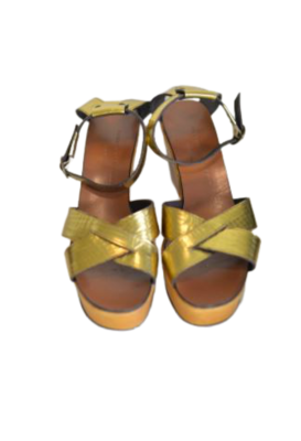 Buy: Gold leather wedge sandals Size 9.5-10.5
