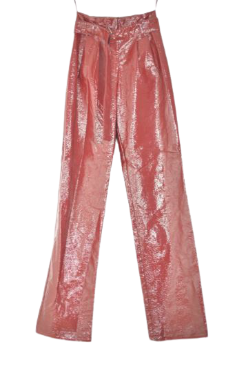 Buy: Blood red paper bag belted shiny pants Size 8