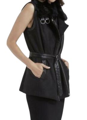 Buy: Faux Fur Trim Biker Vest Black Size 6