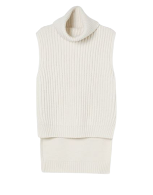 Buy: Cream Knit Vest with Roll Neck Size 8