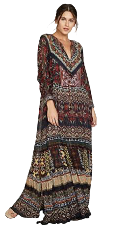 Buy: Long Gathered Panel Dress Paved in Paisley Size 8