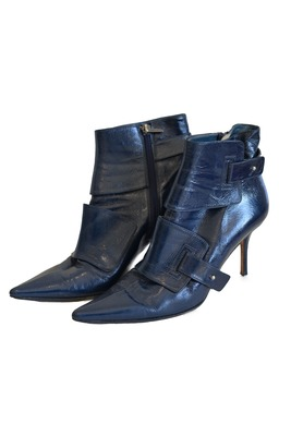 Buy: Blue Patent Leather Boot Heels