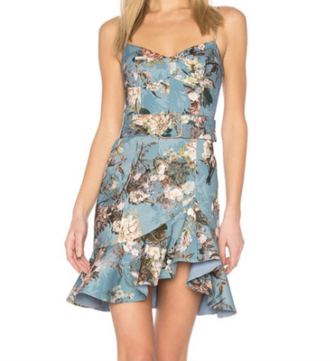 Rent: Arielle Blue floral Mini dress Size 6