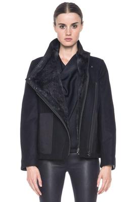 Buy: Black Void Felt Coat rabbit fur reversible jacket BNWT Size 8-10