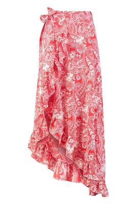 Buy: Paisley Bohemian Wrap Ruffle Maxi Skirt BNWT Size 12
