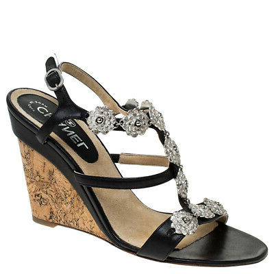 Buy: Black Leather Embellished Wedge Strappy Sandals Size 5