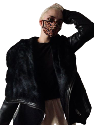 Buy: Leather and Rabbit Fur Hooded Jacket Size 8-10
