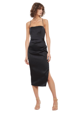 Buy: Black silk dress with open tie back and gathering detail Size 8