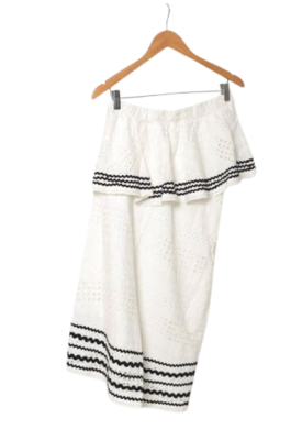 Buy: Cotton white patterned frilled skirt Size 8