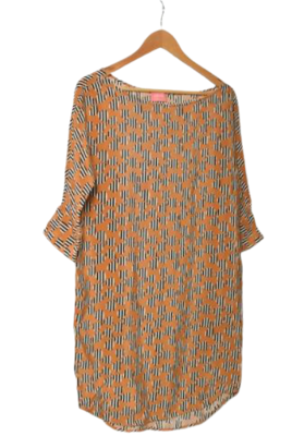 Buy: Mustard-colored dress with heart stripe patterns Size 8