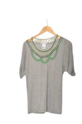 Buy: Green Sequin gray top Size 12