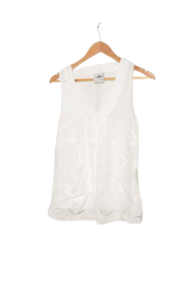 Buy: White cut-out silk top Size 6