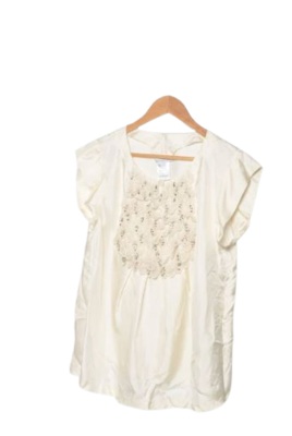 Buy: Sleeveless embroidered cream sheer top Size 8